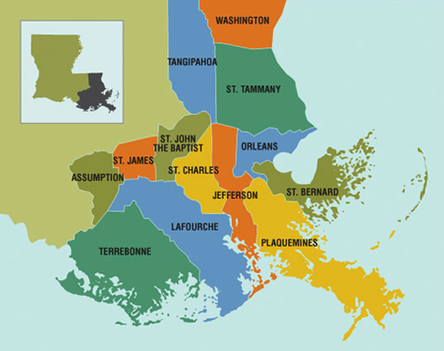 About Us Greater New Orleans Foundation - New-orleans-us-map