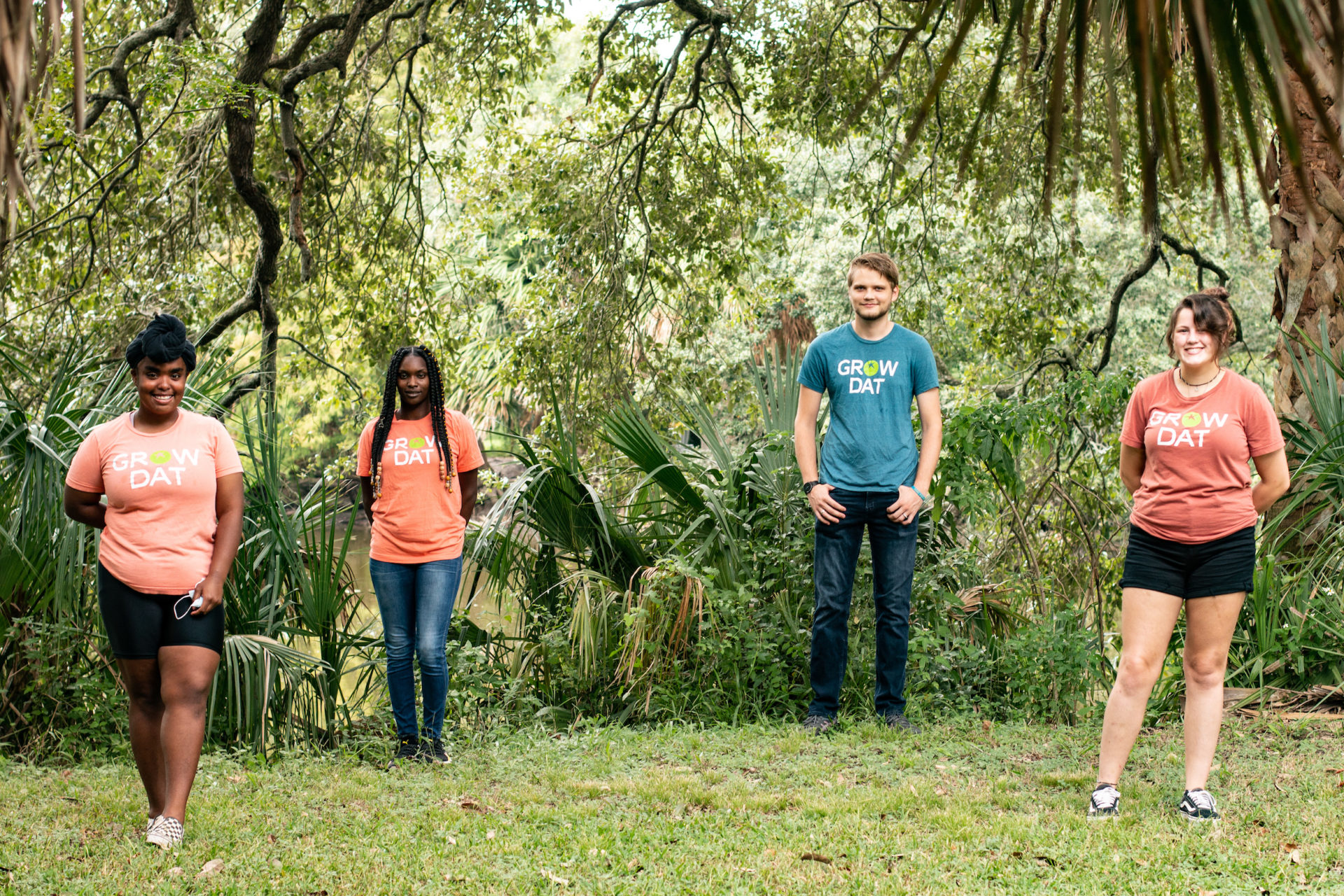 Photograph featuring four leaders of the nonprofit, Grow Dat Youth Farm